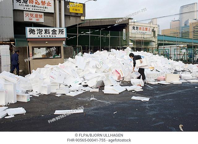 Pile of polystyrene fish boxes at fish market, Tsukiji Fish Market, Tsukiji, Chuo, Tokyo, Honshu, Japan, April