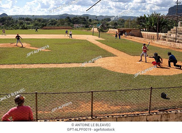 BASEBALL PLAYERS, CUBAN NATIONAL SPORT, VINALES VALLEY, LISTED AS A WORLD HERITAGE SITE BY UNESCO, CUBA, THE CARIBBEAN
