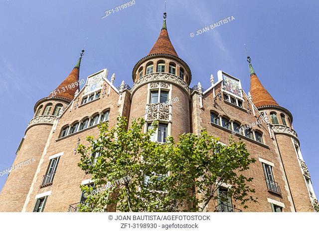 Casa de les Punxes or Casa Terrades, modernist building, designed by Josep Puig i Cadafalch