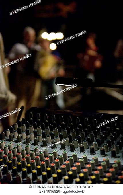 Detail of music table mixer and control, at a festival, Fundão - Portugal