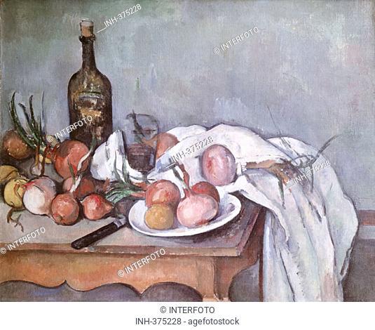 SF Kunst, Cezanne, Paul (19.1.1839 - 22.10.1906), Gemälde, 'Stilleben mit Zwiebeln', (Nature Morte au Onions), 1896 - 1889, Öl auf Leinwand, 66x81 cm