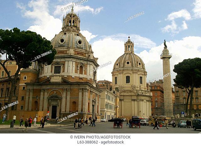 Churches of S. Maria di Loreto and S.S. Nome di Maria with La Colonna Traiana. Rome. Italy
