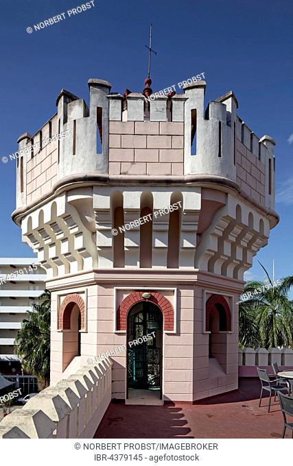 Small tower on roof terrace, Palacio de Valle, architect Alfredo Colli, built 1913-1917, historic city centre, Cienfuegos, Cienfuegos Province, Cuba