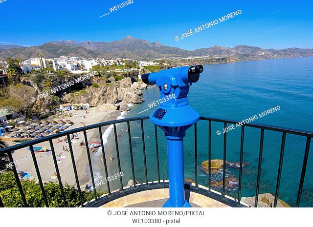 Playa Calahonda, view from Balcon de Europa, Nerja, Costa del Sol, Malaga province, Andalusia, Spain