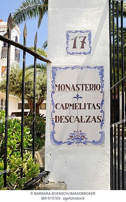 Entrance, sign, grating, church, abbey, Church tower, church, abbey, Convent de la Olla, carmelites, Descalzas, order of the unshod carmelites, Altea