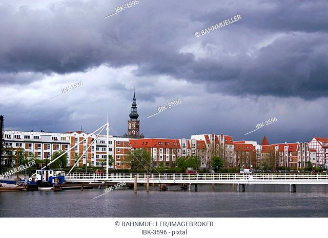 Greifswald Mecklenburg Vorpommern Germany with the tower of the chatedral S. Nikolai