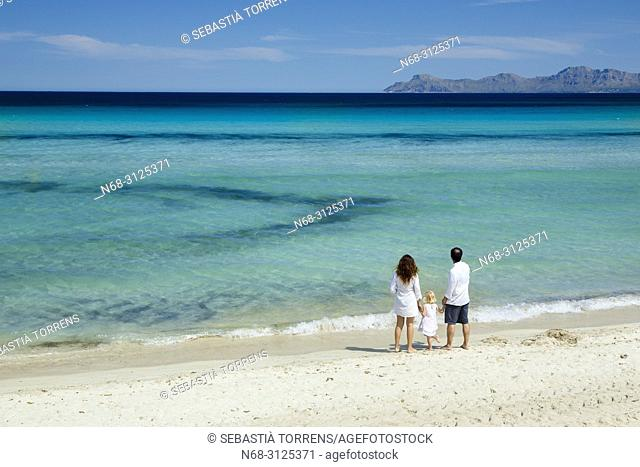 Family at Playa de Muro, Alcudia Bay, Majorca, Balearic Islands, Spain
