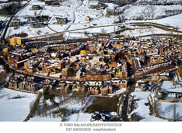 Benasque village Benas aerial view in Huesca Pyrenees of Spain