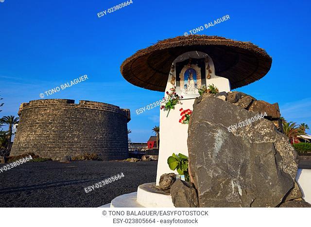 Fuerteventura Caleta del Fuste at Canary Islands Virgin monument