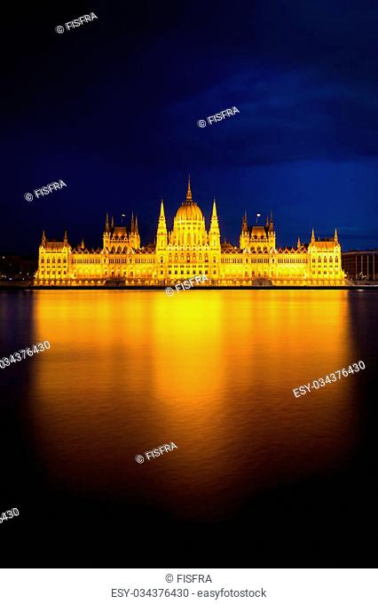Hungarian Parliament Building in golden light, Budapest