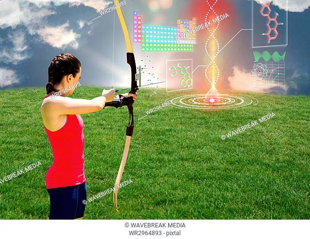 Archer woman aiming the futuristic dna chain in the field
