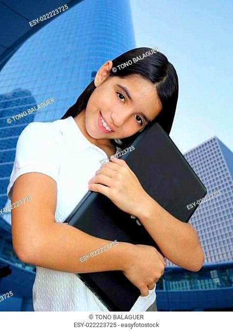 latin teenager brunette student hug laptop