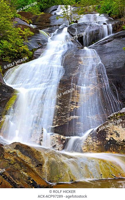 Noname waterfall running down on the hard rock of a mountain right into the Pacific Ocean in Great Bear Rainforest along the British Columbia coast, Canada