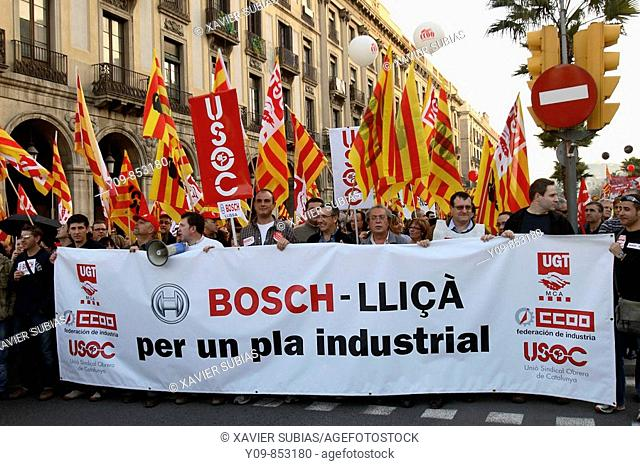 March against the economic crisis on March 14th, 2009. Barcelona, Catalonia, Spain