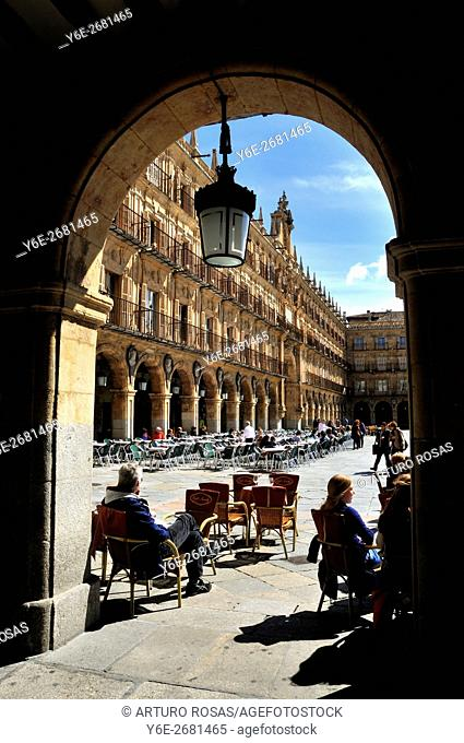Terrace of a restaurant in the Plaza Mayor of Salamanca