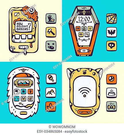 Set of vector detailed monster phones of the future with the mechanical parts and the buttons on a colored background. Theme: eti, cat, coffin, brain
