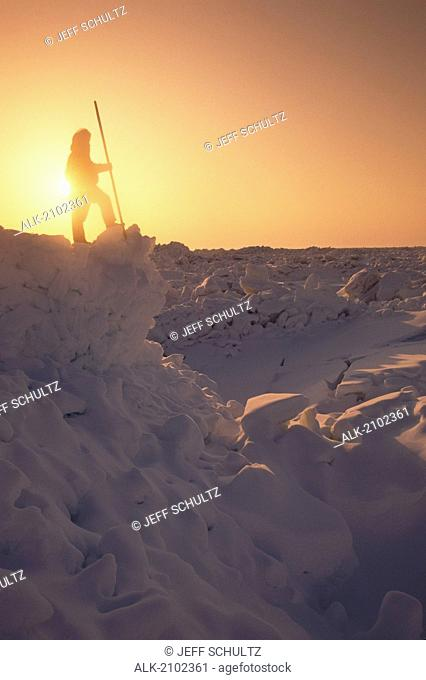 Inupiat Eskimo Barrow Arctic Ocean Viewing Ice Snow Ak Sunset Arctic Silhouette