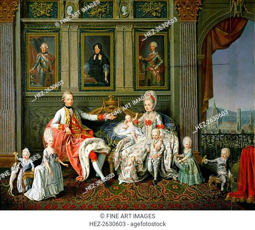 Leopold I, Grand Duke of Tuscany with his wife Maria Luisa and their children, 1773. Artist: Werlin (Verlin), Wenzel (Venceslao) (1730-1780)