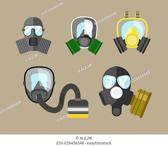 Gas mask vector set. Gas mask for firefighters and military. Respirator mask. Gasmask with filter. Different kinds of gas mask illustration