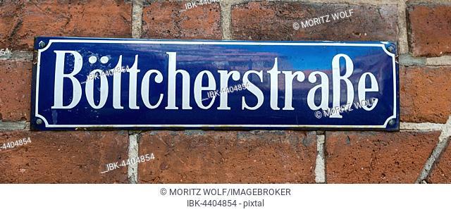 Street sign Böttcherstraße, Altstadt, Bremen, Germany