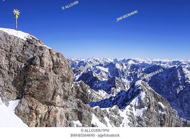 view from the Zugspitze to the Alps, Germany, Bavaria, Oberbayern, Upper Bavaria