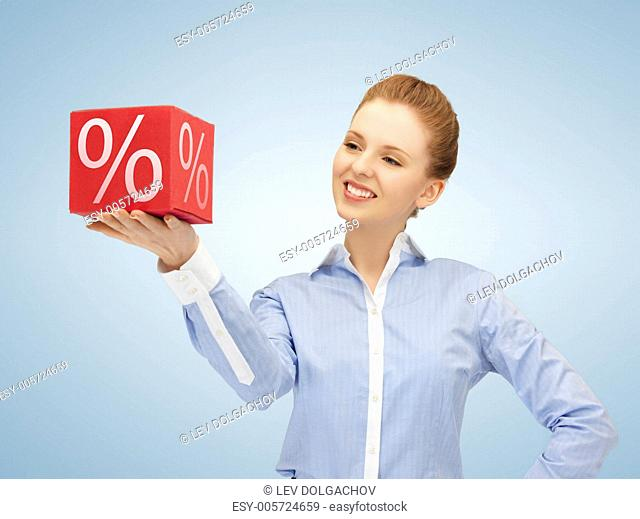 picture of beautiful woman with big percent box