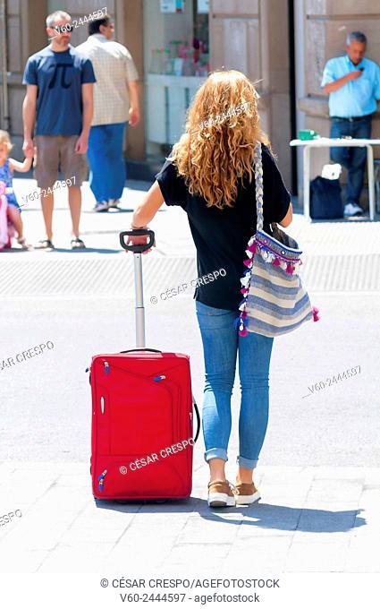 Woman with trolley, Alicante, Comunidad Valenciana, Spain