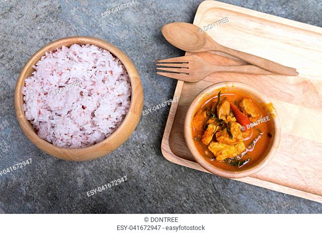 Red pork curry (Panang) with rice, Thai food