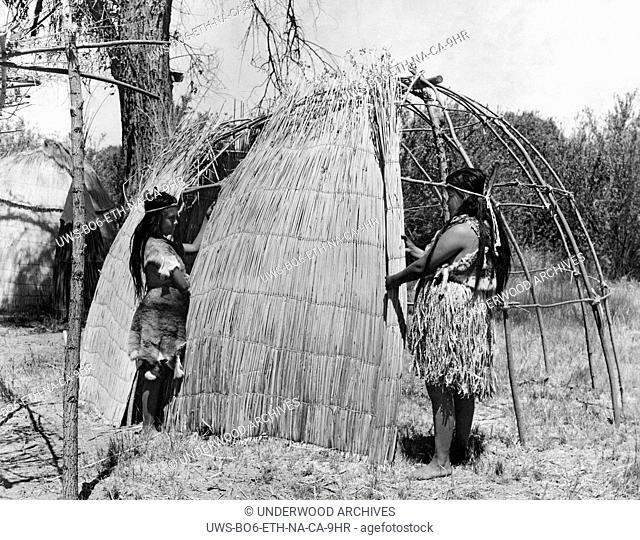 California: c. 1930.The framework for the Yokuts' house was made of willow poles. The poles were pushed into the ground and tied together at the top