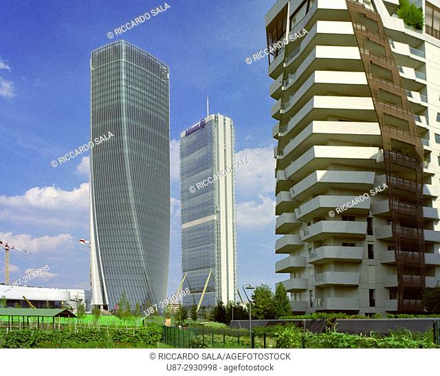Italy, Lombardy, Milan, Skyline Left Hadid Tower called Lo Storto Right Allianz Tower Called Il Dritto