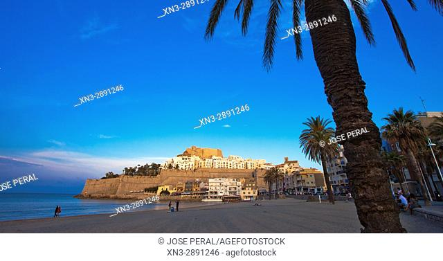 Beach with castle and old town in background, Mediterranean Sea, Peñíscola, Castellón province, Valencian Community, Spain