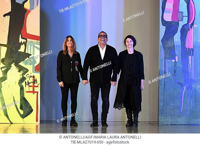 Artist Gina Mariotto, stylist Guillermo Mariotto and Valentina Ilardi fashion stylist, during Maison Gattinoni show, AltaRoma Fall Winter, Rome Fashion Week