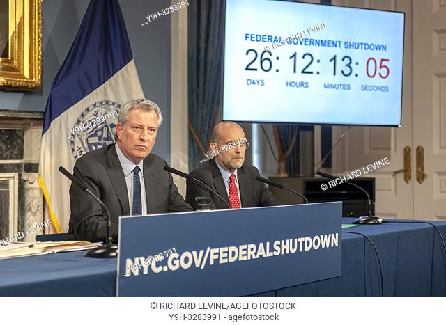 New York Mayor Bill de Blasio, left, with Steven A. Banks, New York City Human Resources Administration/Department of Social Services