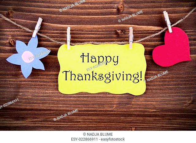 Happy Thanksgiving Label with Flower Symbol