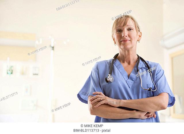 Caucasian nurse smiling