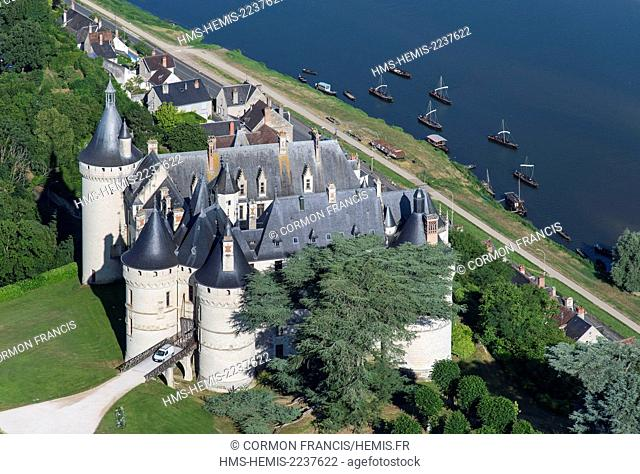 France, Loir et Cher, Chaumont sur Loire, Loire Valley listed as World Heritage by UNESCO, castles of the Loire, Chateau de Chaumont sur Loire (aerial view)