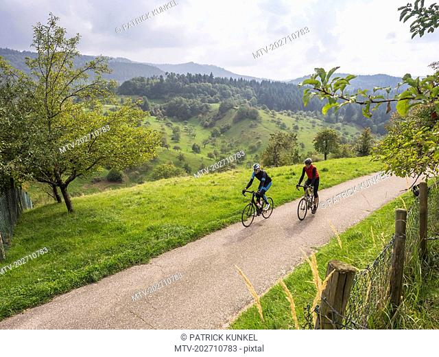 Two men riding racing bicycle on cycling tour in the Black Forest, Germany