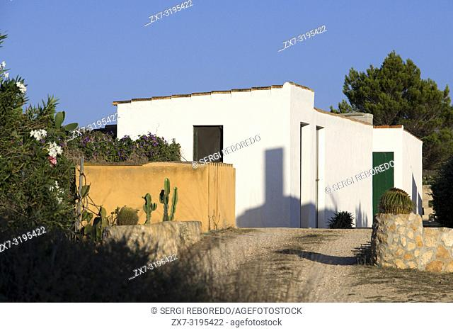 Typical houses in Formentera Island. Mediterranean. Pityuses, Balearic Islands, Spain, Europe