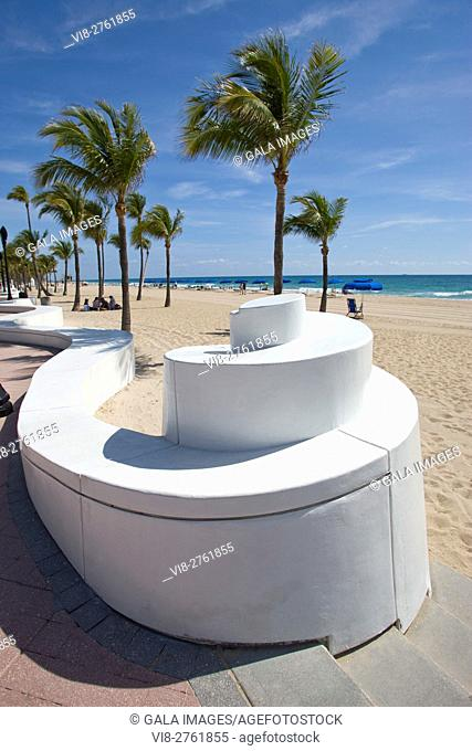 BEACH ENTRANCE WAVE WALL PROMENADE FORT LAUDERDALE FLORIDA USA