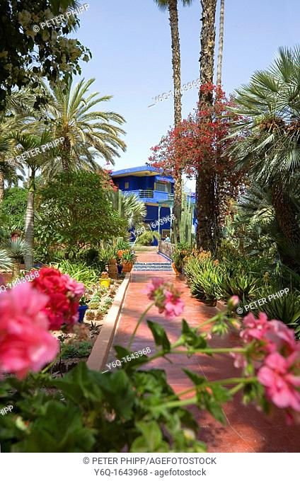 The beautiful 'Jardins Majorelle' in Marrakech Morocco