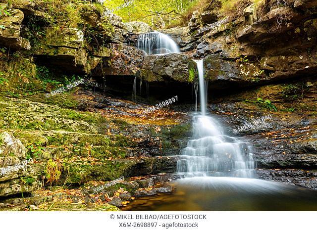 waterfall in Huzmeana creek. Saja-Besaya Natural Park. Cantabria, Spain, Europe