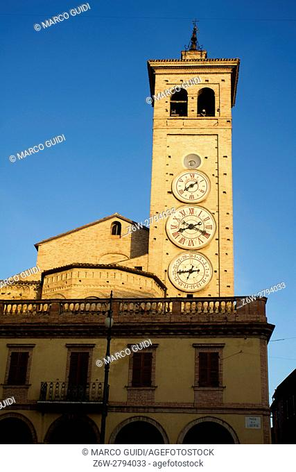 The church of San Francesco with the tower clocks in Tolentino Italy