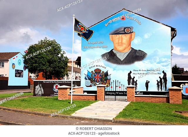 Political mural commemorating Ulster Defence Association commander Stephen McKeag who was responsible for many brutal killings of Catholics and Republicans...