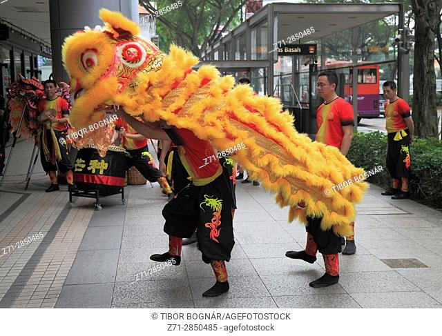 Singapore, Chinese New Year, lion dance, people,