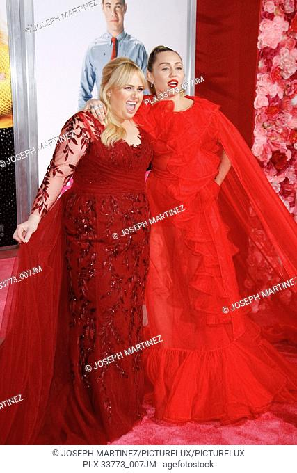 """Rebel Wilson, Miley Cyrus at Warner Bros. Pictures' """"""""Isn't It Romantic"""""""" Premiere held at The Ace Hotel in Los Angeles, CA, February 11, 2019"""
