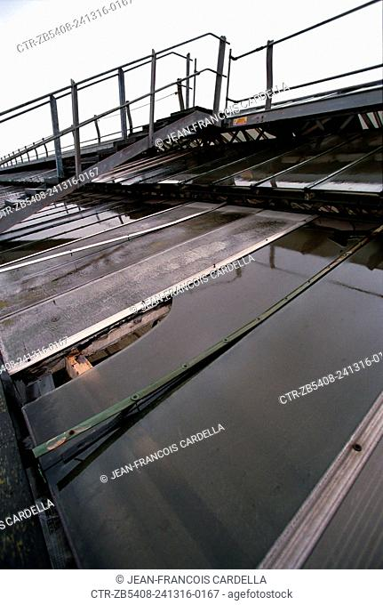 Derelict roof of Waterloo Station above the concourse and the platforms before its complete replacement