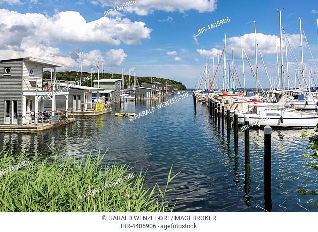 Floating apartments in marina, Lauterbach, Putbus, Rügen Island, Mecklenburg-Western Pomerania, Germany