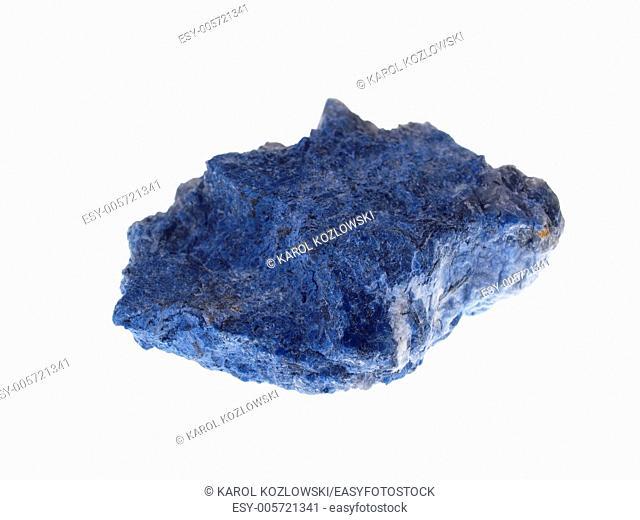 Dumortierite, precious stone on white background, studio isolated photo