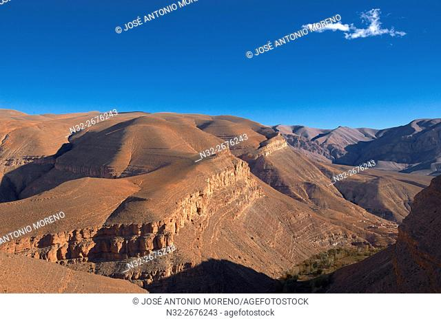 Dades Gorges, Landscape at Sunset, Dades Valley, Dades Gorges, High Atlas, Morocco