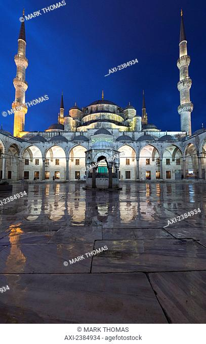 Islamic mosque at nighttime; Istabul, Turkey